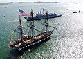 US Navy 110603-N-SH953-653 USS Constitution greets USS Carr (FFG 52) in Boston Harbor during an underway Battle of Midway commemoration.jpg