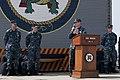 US Navy 111018-N-ER662-102 Capt. Michael Wettlaufer, commanding officer of the forward-deployed amphibious transport dock ship USS Denver (LPD 9) a.jpg