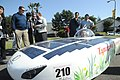 US Navy 111028-N-TO330-238 Ikumi Yasuka, a student at Tamagawa University, drives a Solar-Hydrogen vehicle around the Taylor Field track during an.jpg