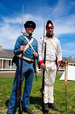 Reenactors in U.S. (left) and Mexican (right) uniforms of the period US and mexican soldiers 1846-1848.jpg