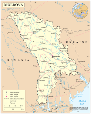 Outline of Moldova - An enlargeable map of the Republic of Moldova
