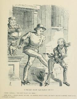 Affiche promotionnelle anti-annexion, montrant un personnage frappant du bien les États-Unis incarnés par l'oncle Sam.