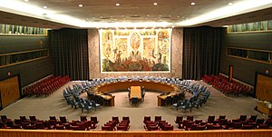 The United Nations Security Council Chamber in...