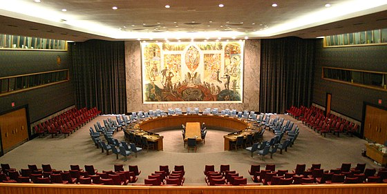Great powers are recognized in an international structure such as the United Nations Security Council, whose meeting chamber is pictured. United Nations Security Council.jpg