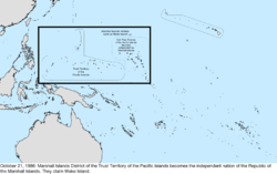 Map of the change to the United States in the Pacific Ocean on October 21, 1986
