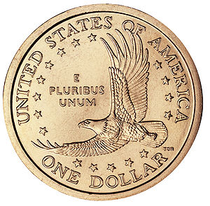 Obverse (left) of the current Sacagawea Dollar...