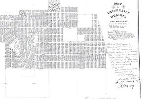 University Heights, San Diego - The original subdivision boundaries of the University Heights neighborhood in San Diego from 1888.