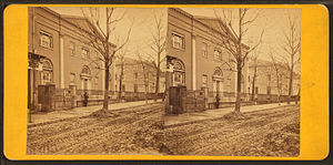 University of Pennsylvania - Ninth Street Campus (above Chestnut Street): Medical Hall (left) and College Hall (right), both built 1829–1830