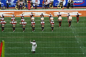 The University of Texas Longhorn Band performi...