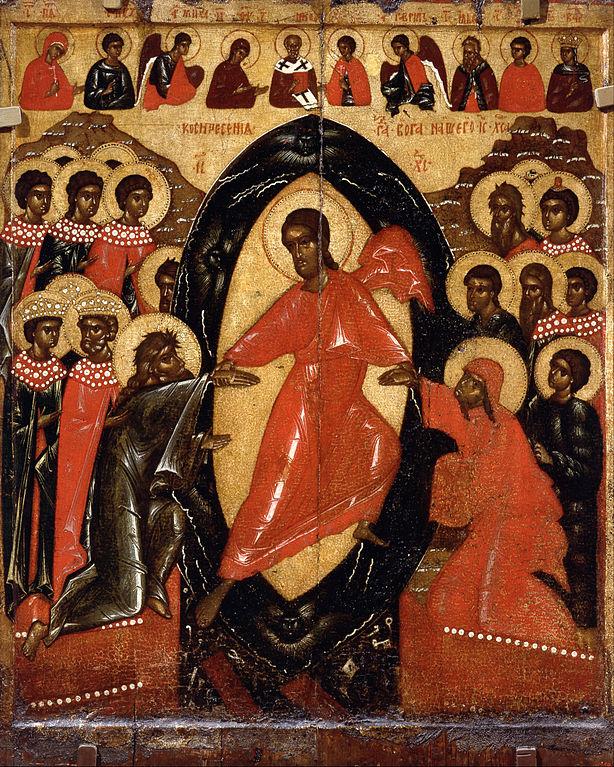 """Icone """"Descente aux enfers avec Deesis et des saints choisis. Pskov"""" (1200). Musée Russe de Saint Petersbourg."""