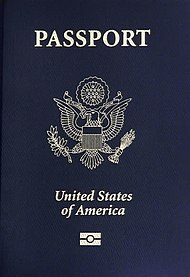 The front cover of a contemporary United States biometric passport (2007).