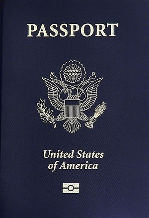 National coat of arms - The US coat of arms on the front cover of a United States passport.