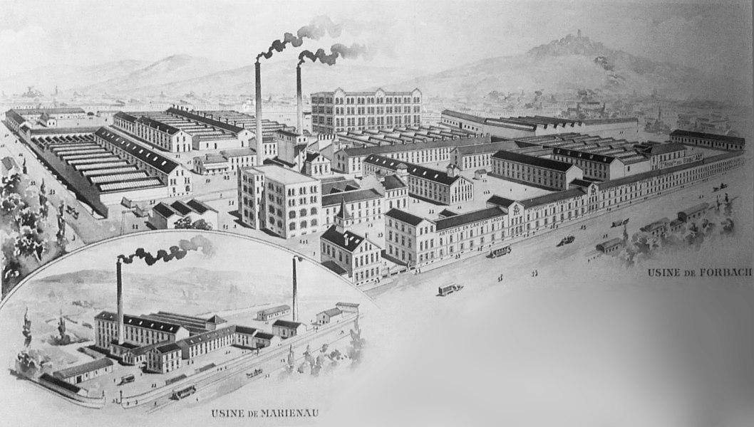 Pappmachéfabrik Forbach. Historische Darstellung um 1900