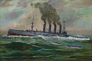 "USS California (ACR-6) - ""The Sinking of USS San Diego"" by Francis Muller."