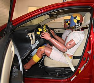 Crash test dummy - Male and female crash test dummy couple in a 2017 Toyota Corolla at the Transportation Research Center.