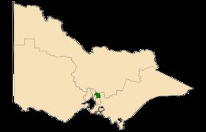 Eastern Metropolitan Region - Location of Eastern Metropolitan Region (dark green) in Victoria