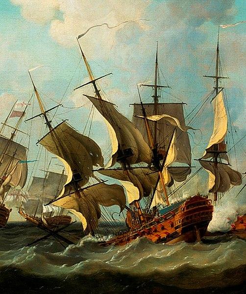 File:Vaisseau le Thesee sombrant à la bataille des Cardinaux 1759.jpg