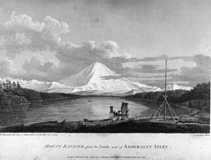 "Vancouver Expedition -  ""Mount Rainier from the south Part of Admiralty Inlet"". The mountain was first sighted by Vancouver during his exploration of Puget Sound in the spring of 1792."