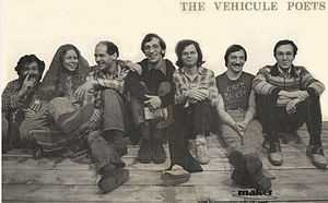 The Vehicule Poets - Left to right: Endre Farkas, Claudia Lapp, Artie Gold, John McAuley, Ken Norris, Tom Konyves, Stephen Morrissey