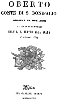 Verdi - Oberto - titlepage of the libretto - Milan 1839.png