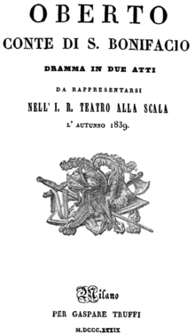 Verdi - Oberto - titlepage of the libretto - Milan 1839.png