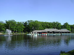 The Verona Park Boathouse, viewed from the north-west shore of Verona Park Lake