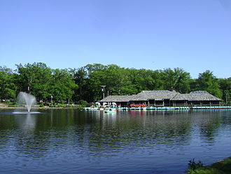 Verona, New Jersey - The Verona Park Boathouse, viewed from the north-west shore of Verona Lake