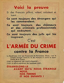 Verso tract Affiche rouge 1944
