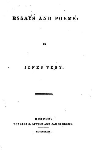 Jones Very - Title page of Essays and Poems (1839) by Jones Very
