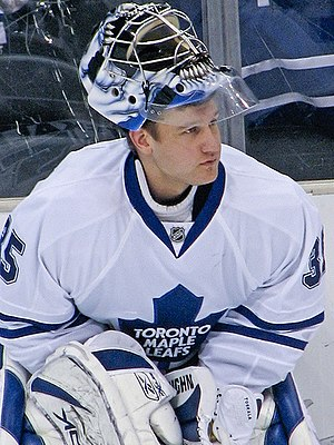Vesa Toskala - Vesa Toskala suited up in a game for the Toronto Maple Leafs on January 10, 2008