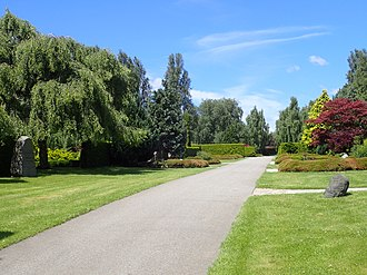 Vestre Cemetery (Aarhus) - The gravefields. Former mayor H.P. Christensen and his wife are buried at the birch tree on the left.