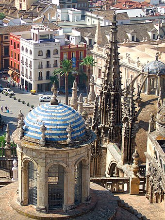 A cupola-shaped lantern on 16th-century Seville Cathedral, Andalusia, Spain