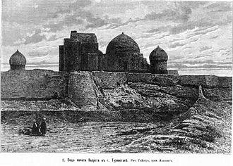 Mausoleum of Khoja Ahmed Yasawi - A view of the mausoleum, ca. 1879.