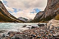 View on the river in the valley at the foot of the mountains in Jasper National Park, in the Canadian Rockies.jpg