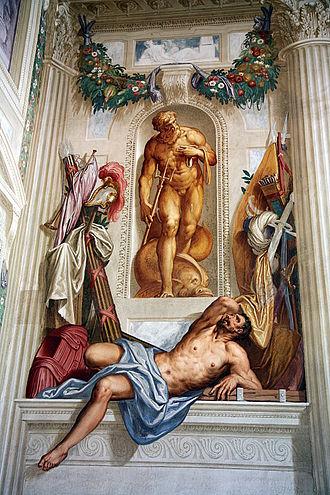 Villa Emo - Frescoes by Giovanni Battista Zelotti, west wall of the hall