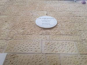 Villa Francia - Commemorative plaque at the front entrance wall in the memory of Ugo Pasquale Mifsud who died at the Villa