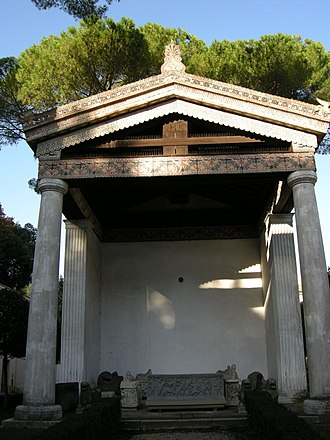 Etruscan mythology - Reconstruction of an Etruscan temple, Museo di Villa Giulia, Rome, which is heavily influenced by studies of the Temple of Apollo at Portonaccio (Veio)