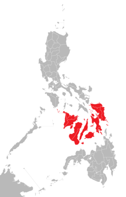 Map of the Philippines Visayas is shown in red