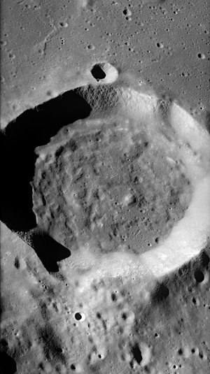 Vitruvius (crater) - Oblique view of Vitruvius from Apollo 17 panoramic camera, facing south