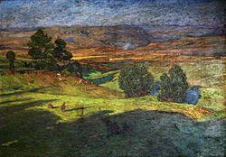 Hans Richard von Volkmann: Upland landscape at sunset.