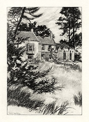 Alfred, Lord Tennyson - An illustration by W. E. F. Britten showing Somersby Rectory, where Tennyson was raised and began writing