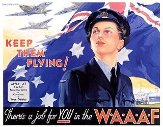 "WAAAF recruiting poster showing a woman in WAAAF uniform with Australian flag and single-engined aircraft in flight in the background, and the captions ""Keep them flying!"" and ""There's a job for YOU in the WAAAF"""