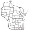 Location of Janesville in Rock County, Wisconsin