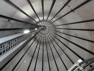 Wire rope - Inside view of a wind turbine tower, showing the wire ropes used as tendons