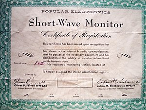 Shortwave listening - WPE shortwave monitor registration certificate circa 1963