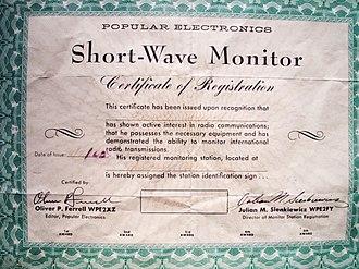 Shortwave listening - WPE shortwave monitor registration certificate circa 1963