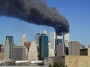 World Trade Center site - World Trade Center towers burning following American Airlines Flight 11 and United Airlines Flight 175 both crashing into the towers.
