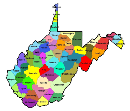 Map of West Virginia counties WVirginiaCo.png