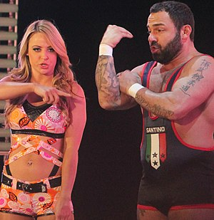 Emma (wrestler) - Emma along with Santino Marella prior to a match at Raw in April 2014