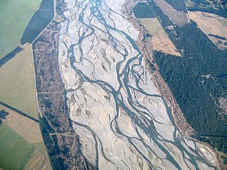 Braided river - The Waimakariri River in the South Island of New Zealand is braided over most of its course.